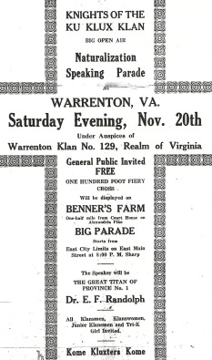 This ad appeared in the Fauquier Democrat on Nov. 17, 1926.