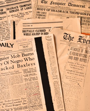 Stories about the Shedrick Thompson case appeared in newspapers throughout Virginia.